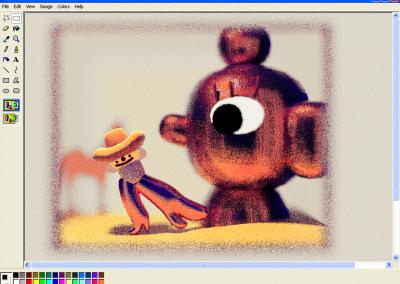 Cowboy & Giant head still